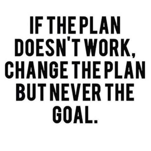 change the goal never the plan